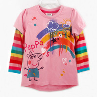 2014 Spring Autumn peppa pig  Children striped long-sleeved  t shirt  Children Clothing Girls t shirt