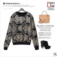 Women's new exquisite custom wild flower pattern matte sequins fleece sweater!