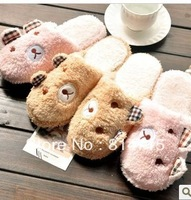 Interaural relaxed bear coral fleece thermal soft outsole cotton-padded lovers slippers at home floor slippers men and women