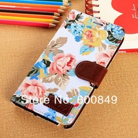 Fashion Flower PU Leather Floral Cases Stand Back Case Cover Skin W Card slot For Samsung Galaxy Note 3 Note3 N9000 N9005