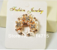 28 full rhinestone pearl four leaf clover flower basket brooch corsage pin pattern sparkling diamond pin buckle