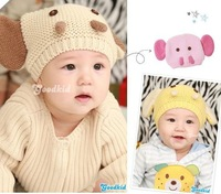 wholesale 5pcs lots mix colors New arrival child cute baby knitted elephant  style hat warm knitted hat