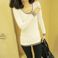 2013 autumn women's fashion slim modal o-neck long-sleeve basic shirt