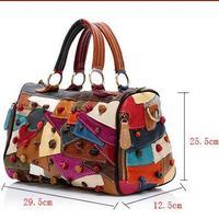 Guaranteed 100% genuine leather patchwork handbags women multicolor bags female