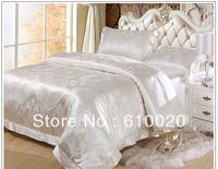 mulberry silk bedding set natural silk bedding set 4pcs quilt cover/sheet/pillowcase size custom made