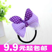 Min.order is $10 (mix order) Hair accessory candy color knitted cloth double bow headband rabbit dot hair rope tousheng
