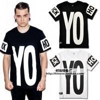 Free shipping fashion men's clothing Misbhv yo hood letter clot male 100% cotton short-sleeve T-shirt short tee