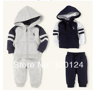 Popular sports suit/2-piece set: long-sleeved cotton hoodie +long pants/Good quality baby clothes
