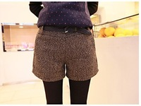 2013 Hot Vintage Fashion Sexy Women Short Pants For Winter Plaid Design With Belt Three Colors For Choose
