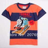 NEW Free shipping 5pcs/lot  children clothes boy summer stripe t-shirt boy character emboridery tops boys cool tees