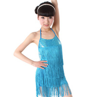 new 2014 spring summer latin girls dance dress samba ballroom dress dancing costumes tassel princess permance costum E640