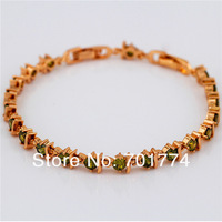Classic Womens 18K Yellow Gold Plated Green Round Cut Cubic Zirconia CZ Tennis Bracelet Christmas Gift Jewelry  for Girlfriend