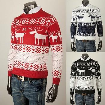 Новая мода Мужская шею тонкий Xmas Кардиган Олень трикотажные свитера Jumper Топы