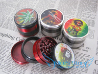 2013 New 4.8 cm 4PC HERB / SPICE / GRASS / WEED Tobacco Herb Grinder prints Free Shipping 6pcs/lot GR118