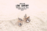 Stud earring female accessories crystal bow earring earrings anti-allergic sparkling