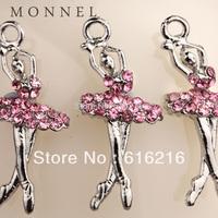 H187b Wholesale  3 pcs Pink Crystal Ballet Dancer Pendant Charm