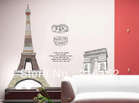 Free Shipping PVC Tower of Eifel Triumphal Arch removable wall decal sticker ART Wall Sticker Decal Mural Decor NEW