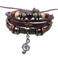 New Note Pendant Multilayer Leather Charm Bracelet Handmade Adjustable Beads Jewelry Free Shipping RuYiSLQ193