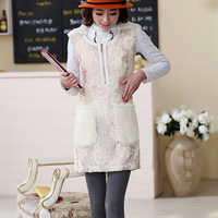 Free Shipping 20649996 2013 winter disk flowers lace paillette rabbit fur woolen one-piece dress
