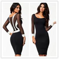 fall 2014 european style  Long Sleeve autumn-Winter Dress Black and White Patchwork Midi Bodycon dresses elegant dress women