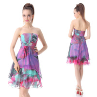 03722 Exquisite Strapless Diamante Printed Falbala Cocktail Dress 2014