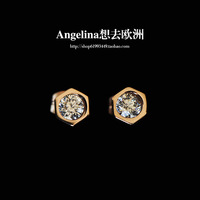 FREE SHIPPING~New Arrival Titanium Jewelry 18K Rose Gold Plated Hexagon with HI-Q Crystal Women/Men Earring