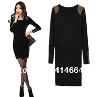 Plus size thickening plus velvet basic skirt autumn and winter one-piece dress long-sleeve basic shirt female