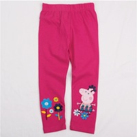 2014 New Arrival Baby Wear Girls peppa pig Trousers Children's Cartoon Long Pants Kids Embroidery Trouser