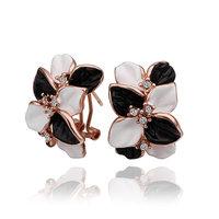 Big Sale Fashion New Women Earringss 18K Gold Plated Flower Earrings With Purple Genuine Element Austrian Crystal E472