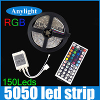 5M 5050 RGB LED Strip light Flexible Light 30 LED/M 150LED 5M SMD Ribbon Tape Lamp DC 12V+44 key RGB Controller WLED40