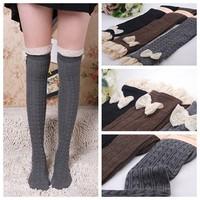 Lady Crochet Bow Lace Trim Knit Leg Warmer Boot Socks Knee High Winter [240505]