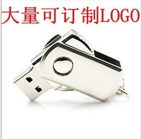 free shipping Usb flash drive 2gu plate stainless steel rotary 2g usb flash drive customize logo gift