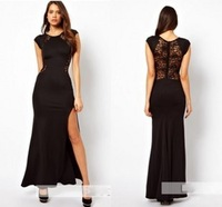Fashion full dress slim sexy cutout placketing behind the lace one-piece dress skirt dress