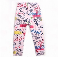 New Arrival Baby Wear Girls peppa pig Leggings Children's Long Pants Kids Cartoon Trousers 5pcs/lot