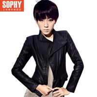 THOOO 2013 autumn fashion design slim short leather jacket coat women motorcycle PU clothing 11g3563