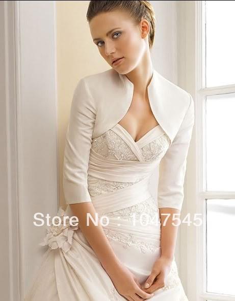 2014 satin High Neck Bolero Shrug Cro Custom Half Sleeves Drop Free Shipping White Ivory bridal Wedding Jacket Wrap Wholesale(China (Mainland))