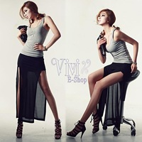 2013 Summer New Fashion  Women Vintage Solid Brief Double Open Fork Hem Skirt Black Graceful Long Sexy Chiffon Skirt 17833 saias