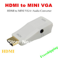 New arrival 1080P HDM to MINI VGA +Audio Converter Adapter Free Shipping Wholesale