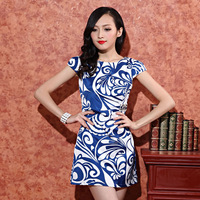 New Spring/Summer Cheongsam Ladies Pure and elegant 'Blue & White Porcelain design printed short-sleeve dress  For Women 5size