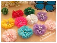 30pcs 8 Color 2inch Fluffy ruffle chiffon diamond Hair Flower for Baby children Hair Accessories for hair bows
