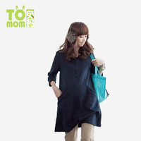 Maternity clothing autumn and winter autumn thickening long design top sweatshirt