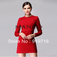 S-XXXXXL!Fashion autumn 2013 slim long-sleeve slim hip elegant one-piece dress#559