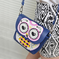 summer cartoon owl bag mini bag print one shoulder cross-body women's handbag small bags women leather handbags messenger L09266