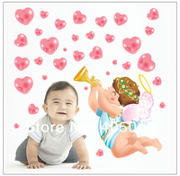 "Cute Large 120x75cm (47""x30"") AY1707 Fairy Wall Stickers Angel Wedding Decoration SGS Removable Quality PVC Professional Packing"