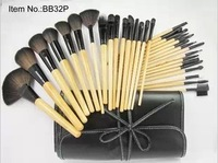 Free Shipping.32pcs 32 pcs Cosmetic Facial Make up Brush Kit Makeup Brushes Tools Set + Black Leather Case