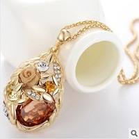AAA CRYSTAL  WOMEN FASHION DROP NECKLACE WHEAT  ROSE GOLD NECKLACE SWEATER