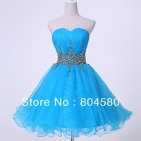 New! Free Shipping Grace Karin Strapless Voile Short Blue Formal Prom gown fashion Mini Cocktail Party Dress CL4972-1#