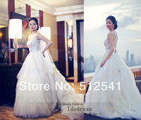 Wonderful Sheer Pearls Wedding Dresses 2014 A Line Bateau Sequin Tiereds See Through Back Bridal yk8R172