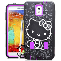 Hot sale Cheap100 pcs/lot Laser Carving Cute Hello Kitty Pattern Shock proof Hybrid Case Cover for Samsung Galaxy Note3 N9000