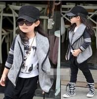 Retail Girls' Crochet Cardigan Baby girl Gray Crochet Jacket Big Lapel coat outwear girls' outwear jacket cardigan clothing